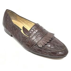 Mauri Loafers Shoes Size 9.5 Brown Full Crocodile